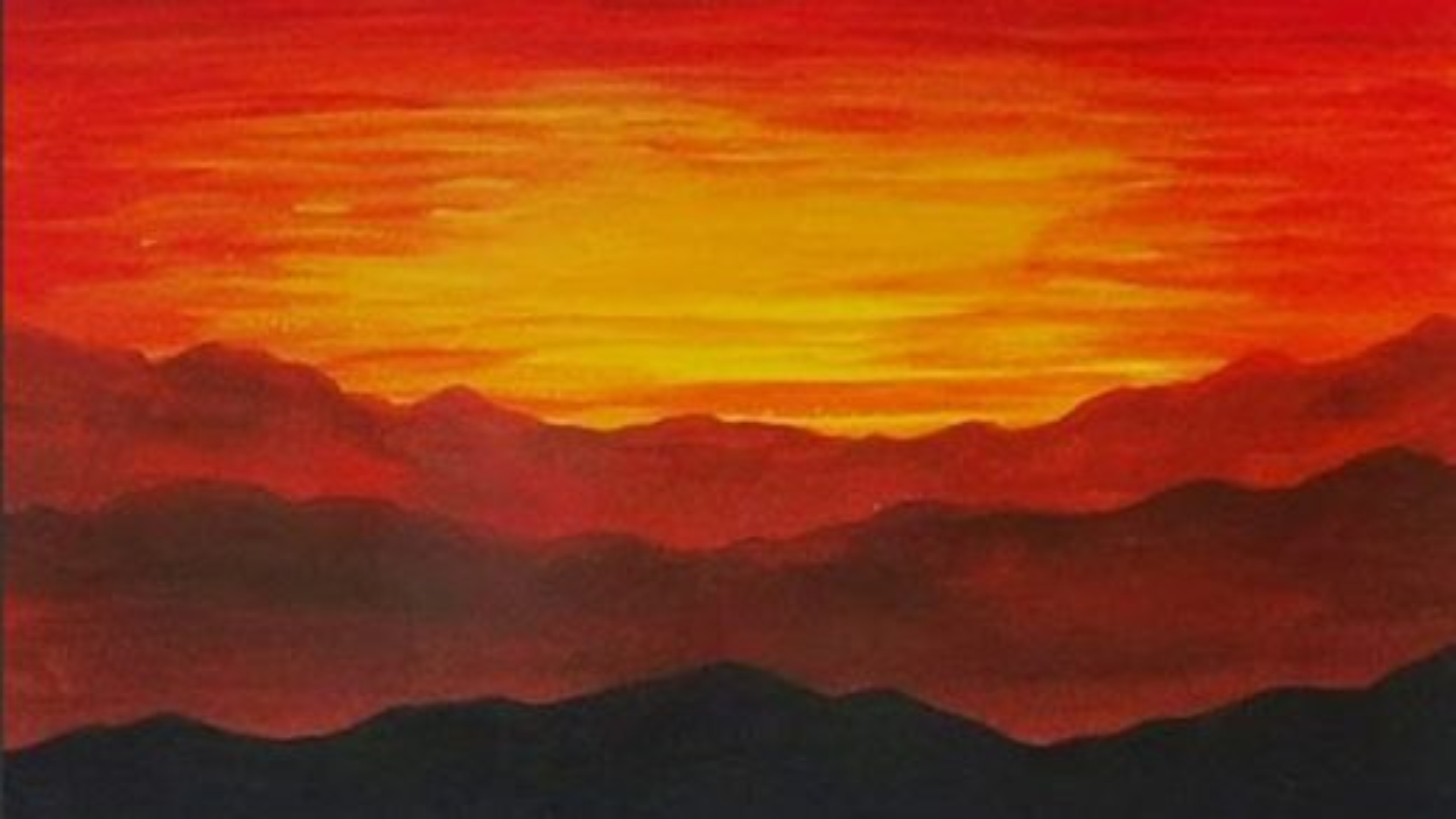 تکنیک نقاشی اکریلیک ؛ آموزش کشیدن غروب خورشید | فیلم