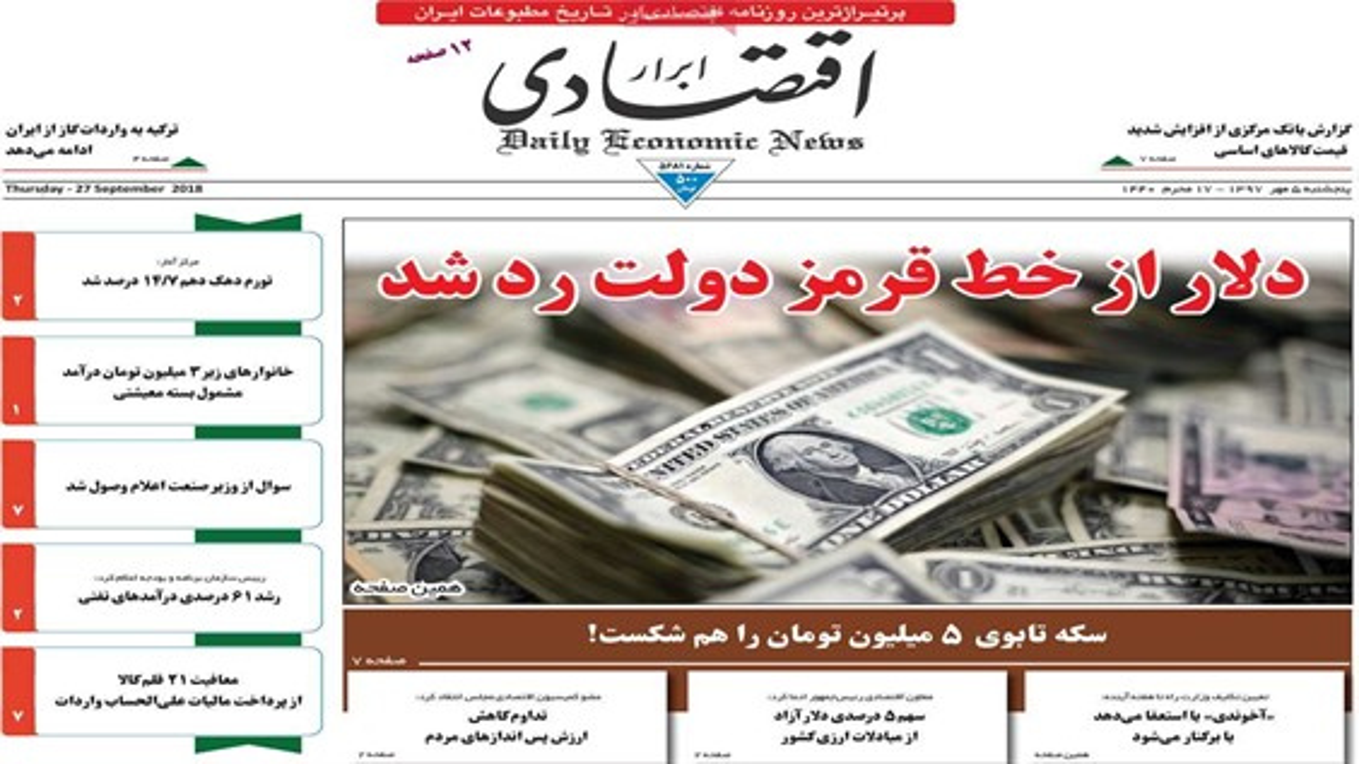 صفحه اول روزنامههای اقتصادی پنجشنبه 5 مهر | فیلم
